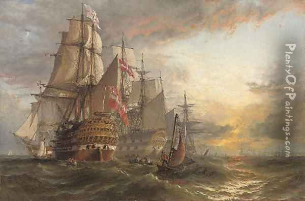 A Squadron of Danish warships moored off the entrance to Portsmouth harbour, with the masts of shipping in the harbour in the distance Oil Painting - Henry Thomas Dawson