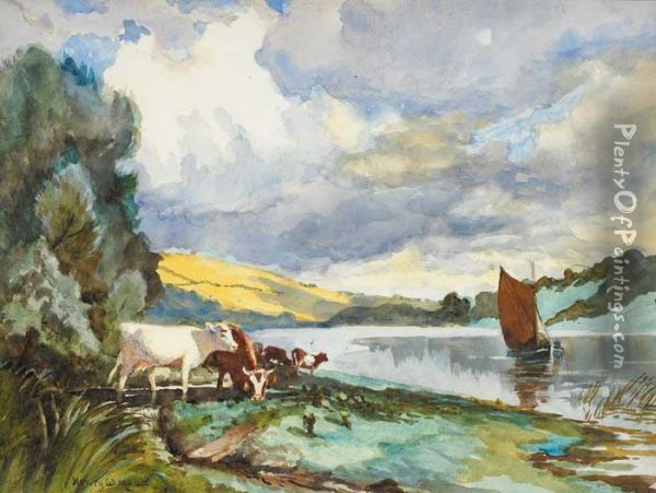 River Slaney; Wexford On The Right Oil Painting - Henry William Moss
