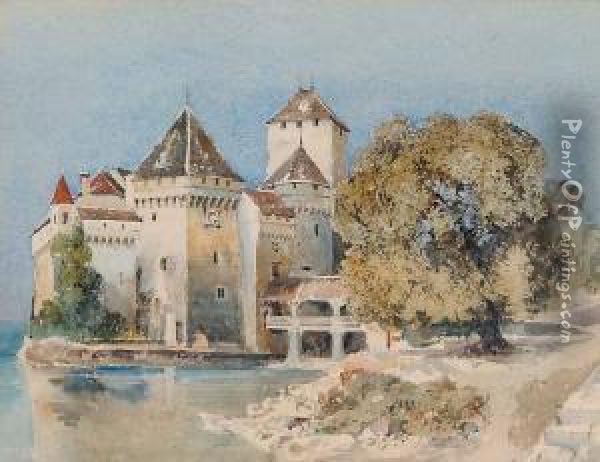 Untitled - Chateau Chillon Oil Painting - Herbert Parsons Weaver