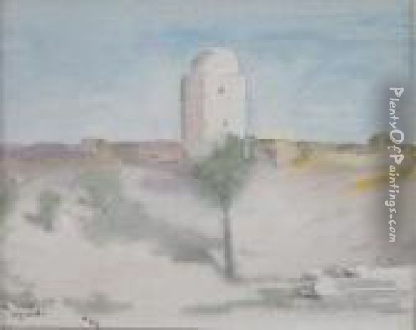 Middle Eastern Landscape With A Tower Oil Painting - Hercules Brabazon Brabazon
