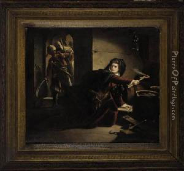 Caught In The Act Oil Painting - Hippolyte (Paul) Delaroche