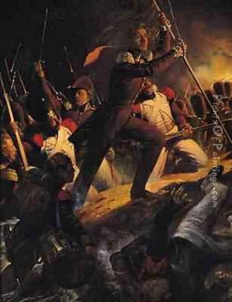 Charles Amedee Albert de Savoie Prince de Carignan 1798-1849 Leading the Assault at the Siege of the Trocadero Oil Painting - Hippolyte (Paul) Delaroche