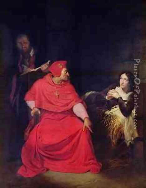 Joan of Arc 1412-31 and the Cardinal of Winchester in 1431 Oil Painting - Hippolyte (Paul) Delaroche