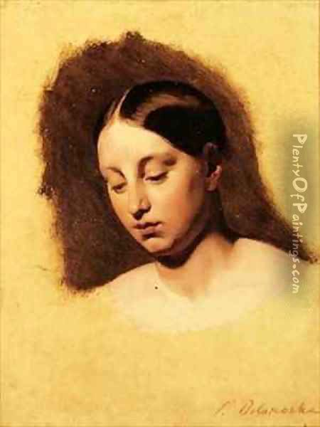 Study for the head of a young woman Oil Painting - Hippolyte (Paul) Delaroche
