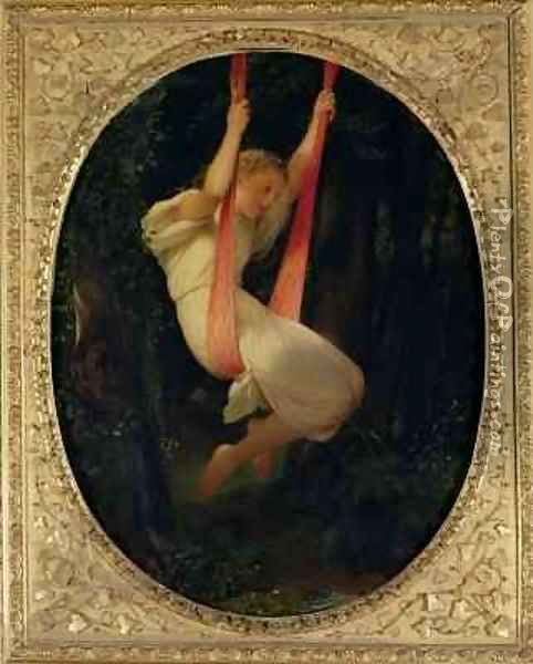 Young Girl on a Swing Oil Painting - Hippolyte (Paul) Delaroche