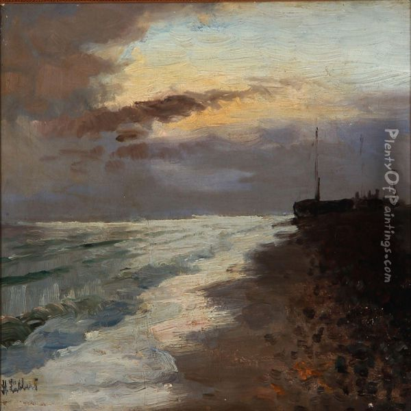 A Sunny Afternoon At A Coast Oil Painting - Holger Peter Svane Lubbers