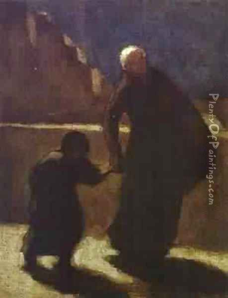 Woman And Child On A Bridge 1845-48 Oil Painting - Honore Daumier