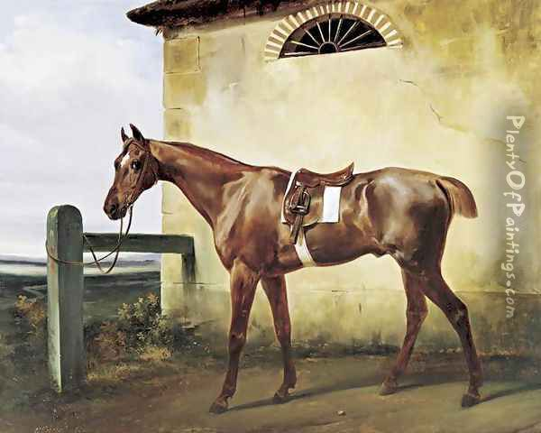 A Saddled Race Horse Tied to a Fence 1828 Oil Painting - Horace Vernet
