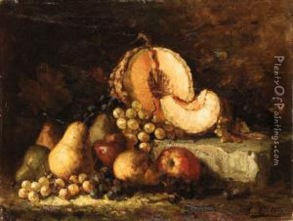 Still Life With Fruit On A Stone Ledge Oil Painting - Hubert Bellis