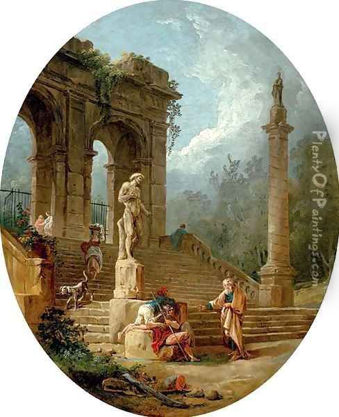 A capriccio of a classical arcade and a column with figures conversing before a statue Oil Painting - Hubert Robert