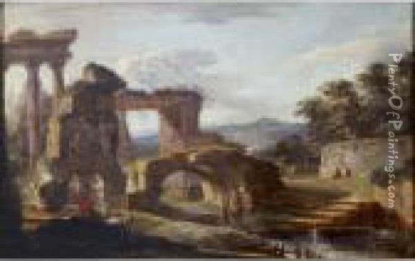 Landscape With Antique Ruins By A River Oil Painting - Hubert Robert
