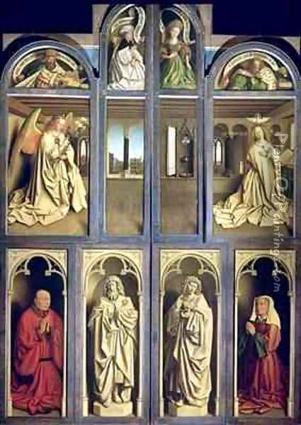 Exterior of Left and Right panels of The Ghent Altarpiece Oil Painting - Hubert & Jan van Eyck