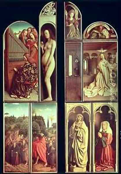 Right Panel interior and exterior of the Ghent Altarpiece Oil Painting - Hubert & Jan van Eyck