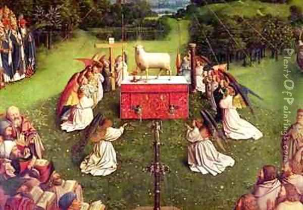 The Adoration of the Mystic Lamb from the Ghent Altarpiece Oil Painting - Hubert & Jan van Eyck