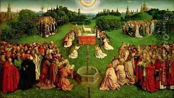 The Adoration of the Mystic Lamb from the Ghent Altarpiece lower half of central panel Oil Painting - Hubert & Jan van Eyck