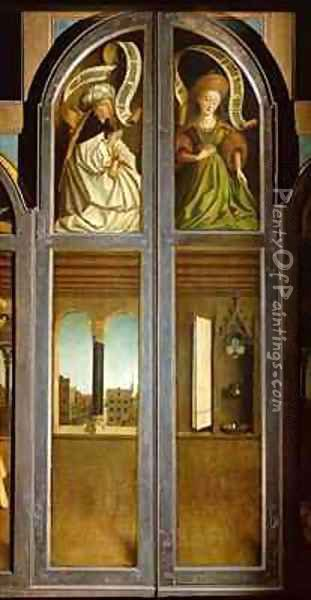 The Ghent Altarpiece Exterior of the left and right shutters Oil Painting - Hubert & Jan van Eyck
