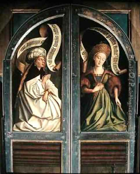 The Ghent Altarpiece The Erythrean Sibyl and the Cumaean Sibyl from the exterior of the two shutters Oil Painting - Hubert & Jan van Eyck