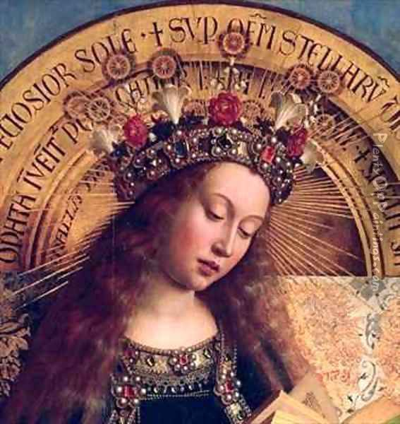 The Ghent Altarpiece The Virgin Mary Oil Painting - Hubert & Jan van Eyck