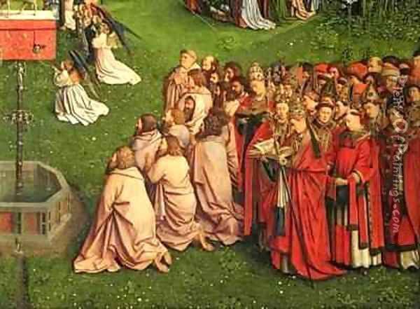 The Ghent Altarpiece detail from the Adoration of the Mystic Lamb Oil Painting - Hubert & Jan van Eyck