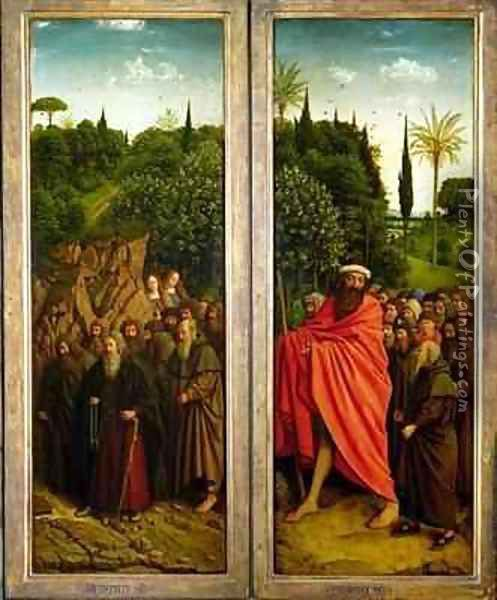 The Hermits and the Pilgrims Guided by St Christopher interior of right hand wing of The Ghent Altarpiece Oil Painting - Hubert & Jan van Eyck