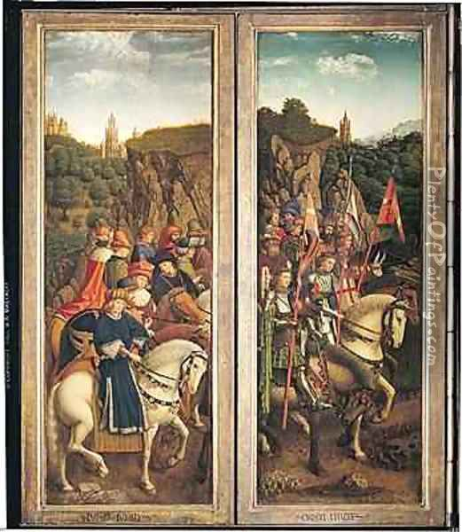 The Just Judges and the Knights of Christ Oil Painting - Hubert & Jan van Eyck