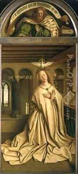 Virgin Annunciate from the exterior of the right panel of the Ghent Altarpiece Oil Painting - Hubert & Jan van Eyck
