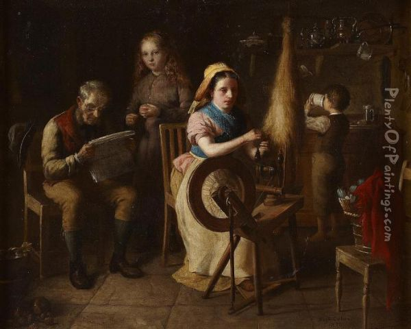 The Spinning Wheel Oil Painting - Hugh Collins