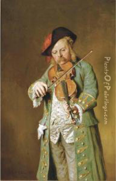 The Violin Player Oil Painting - Hugh Collins
