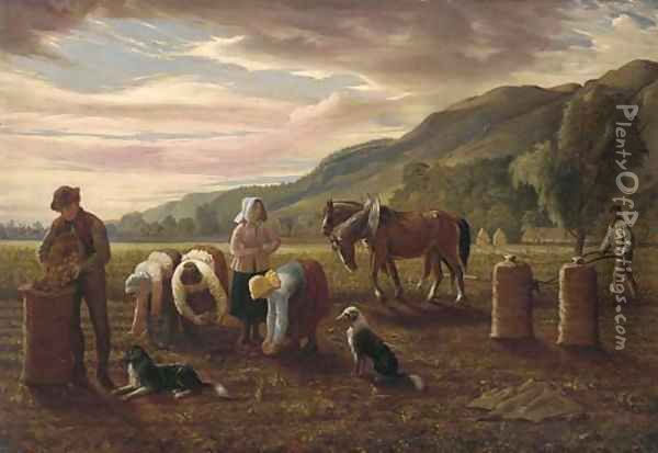 The potato pickers Oil Painting - Hugh Collins
