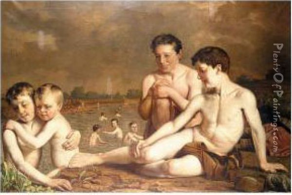 Young Boys Bathing Oil Painting - Hugh Collins