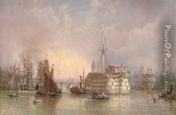A busy day in the Pool of London Oil Painting - Hugo Birger