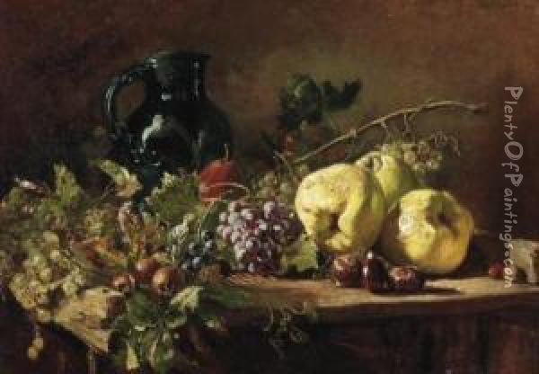 Fall Still Life With Grapes,  Quinces And Chestnuts. Signed And Dated Above Right: Hugo Charlemont  1896 Oil Painting - Hugo Charlemont
