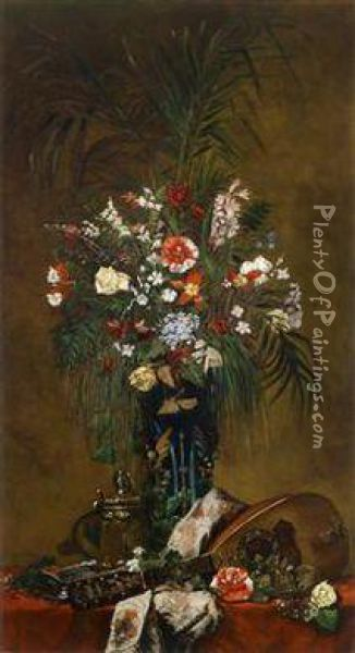 Stilllife With Flowers And Lute Oil Painting - Hugo Charlemont