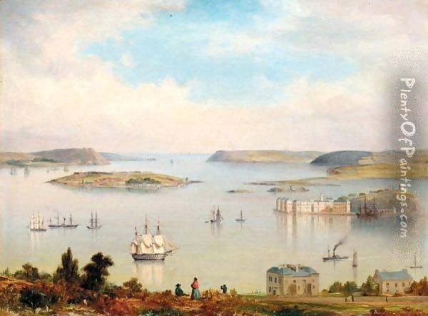 A panoramic view of Cork Harbour A two-decker, paddlesteamers and other shipping inshore Oil Painting - Irish School
