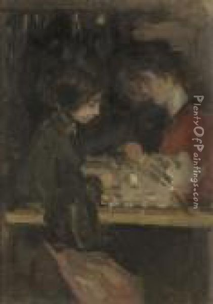 The Fashion Atelier Oil Painting - Isaac Israels