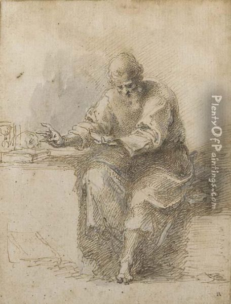 St Jerome Reading Oil Painting - Isaac Oliver