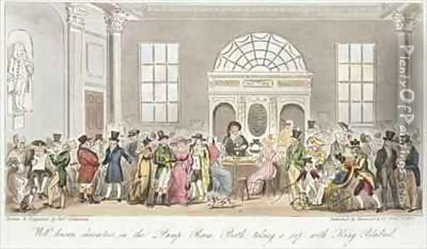 Well known Characters in the Pump Room Bath Taking a Sip with King Bladud Oil Painting - Isaac Robert Cruikshank