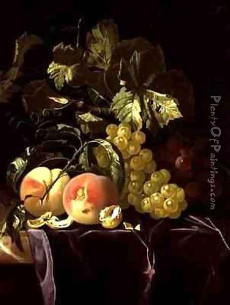 Still Life of fruit nuts and leaves on velvet cloth Oil Painting - Isaak Denies