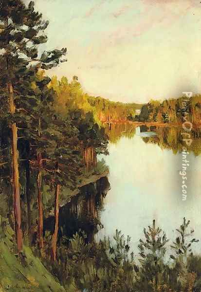 Lake in the forest Oil Painting - Isaak Ilyich Levitan