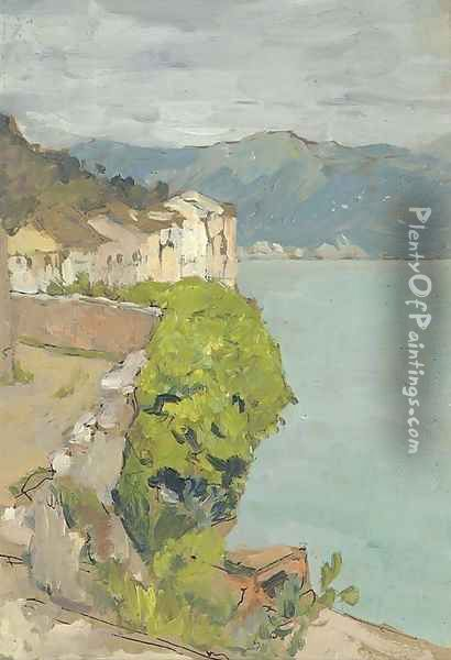 View of a coastal village Oil Painting - Isaak Ilyich Levitan