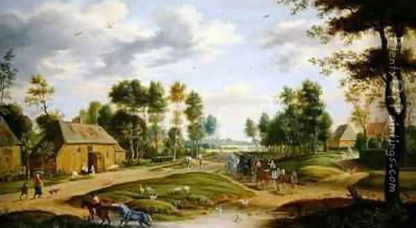 Landscape with a wagon and travellers passing through a village Oil Painting - Isaak van Oosten