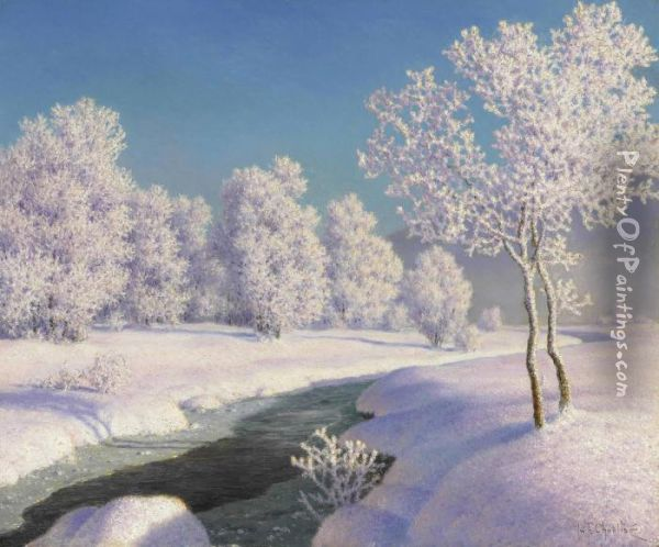 Winter Morning In Engadine Oil Painting - Ivan Fedorovich Choultse