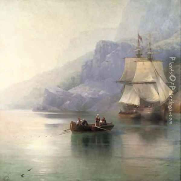 A fishing boat with a Russian merchant brig at anchor Oil Painting - Ivan Konstantinovich Aivazovsky