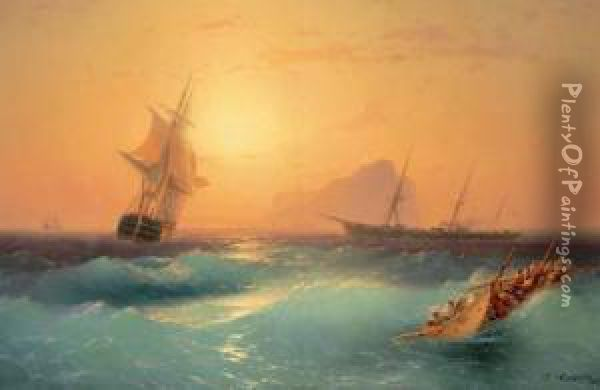 American Shipping Off The Rock Of Gibraltar Oil Painting - Ivan Konstantinovich Aivazovsky