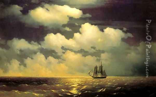 Meeting of the Brig Mercury with the Russian Squadron After the Defeat of Two Turkish Battleships Oil Painting - Ivan Konstantinovich Aivazovsky
