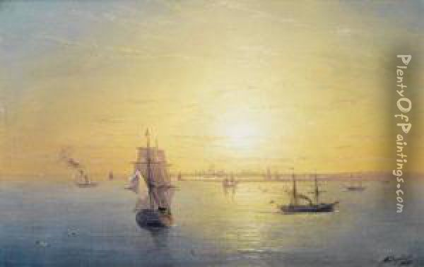 Russian Shipping At Sunset Oil Painting - Ivan Konstantinovich Aivazovsky