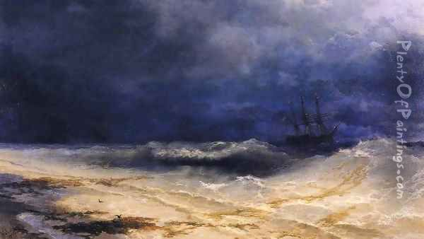 Ship in a Stormy Sea off the Coast Oil Painting - Ivan Konstantinovich Aivazovsky