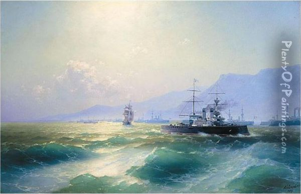 The Allied Naval Blockade Of Crete, 1897 Oil Painting - Ivan Konstantinovich Aivazovsky