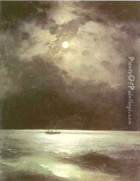 The Black Sea at night Oil Painting - Ivan Konstantinovich Aivazovsky