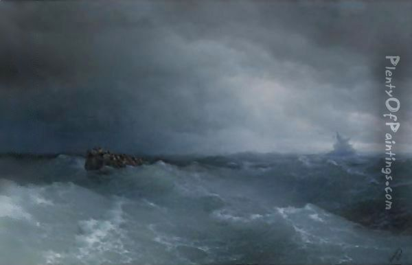 The Stormy Sea At Nightfall Oil Painting - Ivan Konstantinovich Aivazovsky